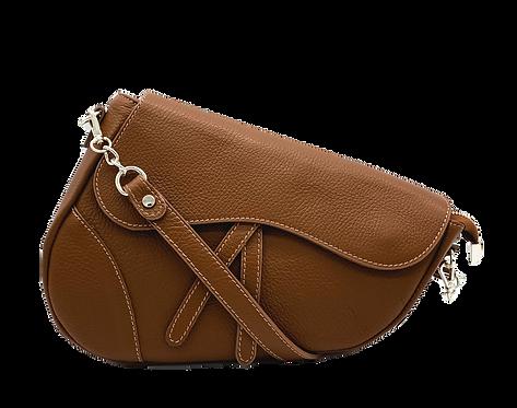 Assymetric Camel Leather Bag - Medium Size