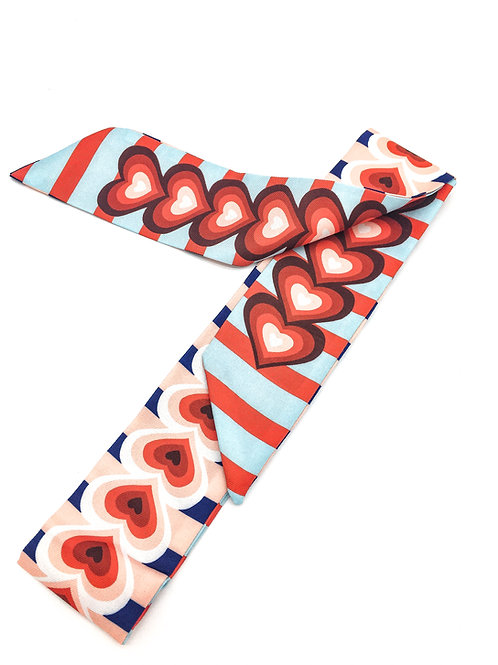 Heart Blue and Red Scarf