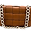 Front of Braid Camel Leather Bag with Gold Chain