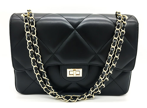 chanel inspired black bag front