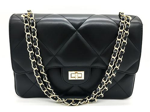 chanel inspired black bag front