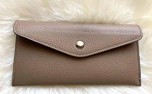 front of taupe leather card wallet