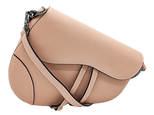 Assymetric Pink leather bag front strap