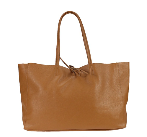 Front of camel shopper bag