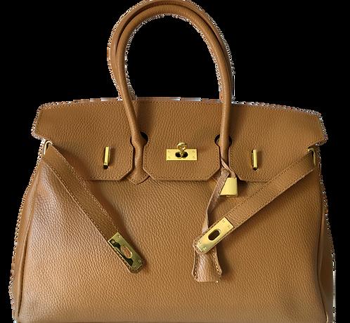 Birkin inspired leather bag in camel brown