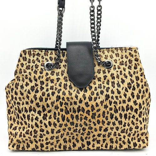 leopard print leather shoulder bag