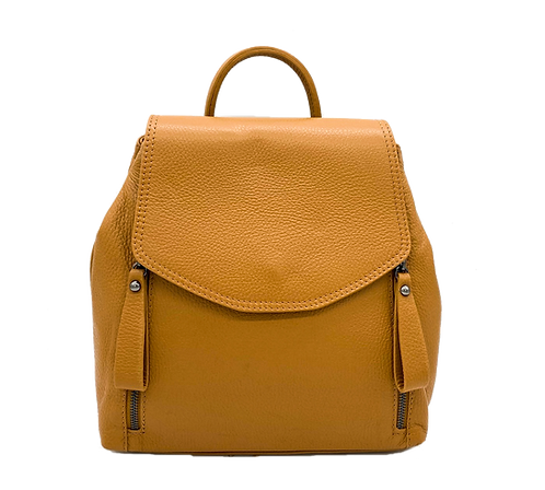 Front of camel leather backpack