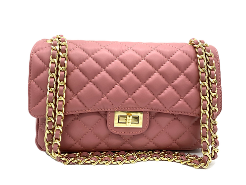 Classy Pink Leather Bag - Small Size