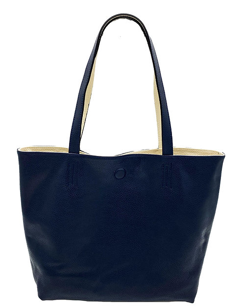 Reversible Blue and Beige Leather Bag