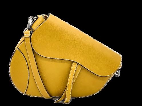 Yellow Assymetric Leather Bag -Big Size