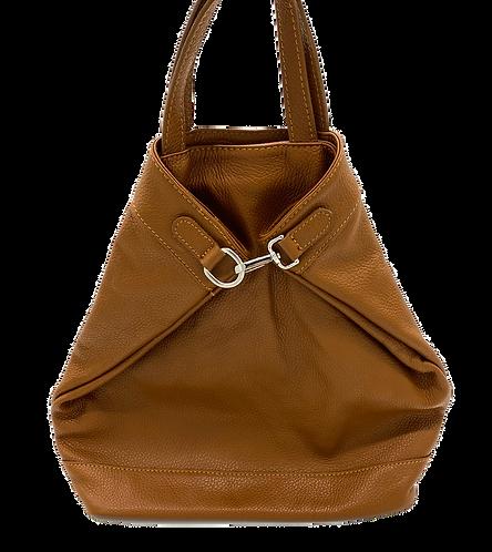Camel Multiway backpack and shopper leather bag