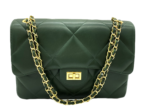 Front of XL classic green leather shoulder bag