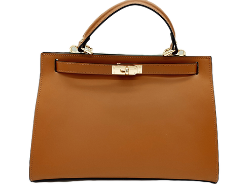Front of kelly inspiration bag in camel color