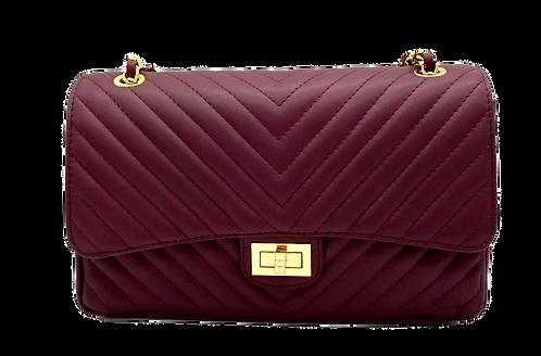 Classy Stripes Bordeaux Leather Bag