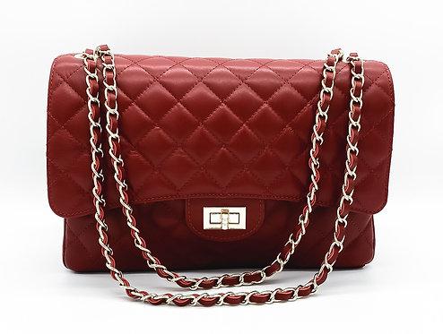 Classy XL Dark Red Leather Bag