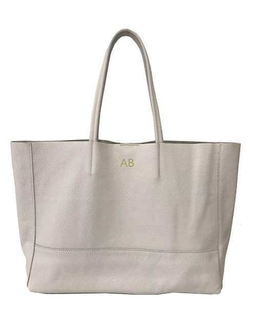 Personalized Front of Beige shopper leather bag