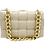 Braid Beige Leather Bag with gold strap