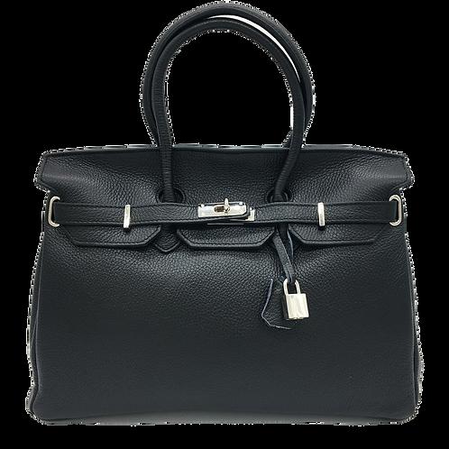 Fashion Black Leather Bag - Silver