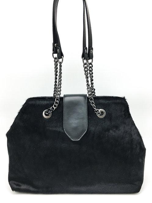 shopper leather bag with black fur
