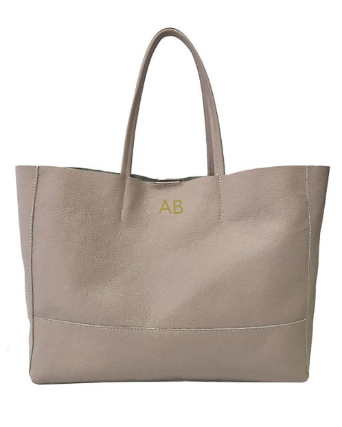 Personalized Front of Shopper Nude Leather Bag