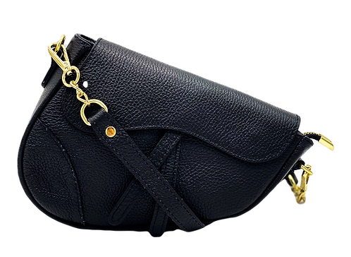 Assymetric leather bag front with strap