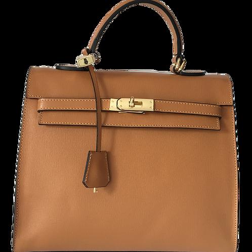 kelly inspired leather handbag in camel brown