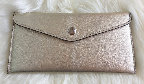Gold Leather Wallet and card holder front