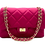 Front with straps of  Classy Fuschia Leather Bag