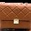 Front of serena camel leather shoulder bag