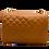 Back of classic camel leather shoulder bag