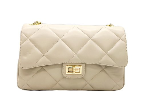 Front of Classy Beige Leather Bag