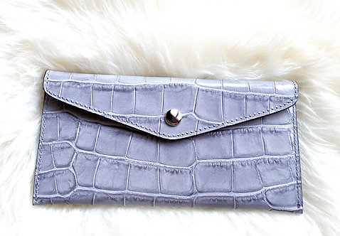 Leather Wallet and card holder- Croco Gray