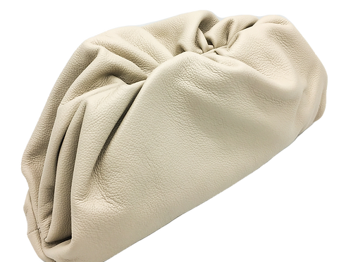 Beige leather pouch bag