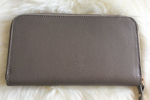 leather wallet on taupe color front