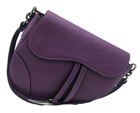 Assymetric purple leather bag front strap