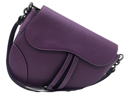 Assymetric purple leather bag front strap
