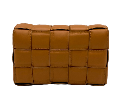 Front of Braid camel leather bag