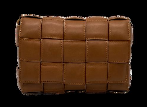 Dark Camel Leather Braid Bag