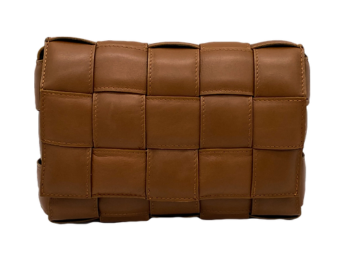 Dark Camel Leather Braid Bag