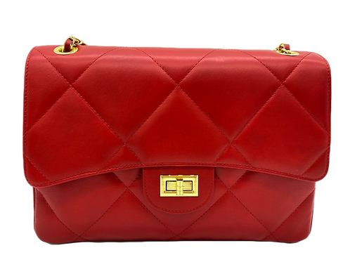 Front of red classic leather bag