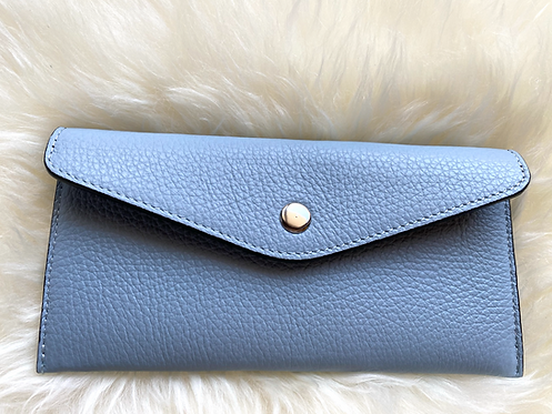 front of blue leather card holder