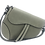 Gray Assymetric leather bag front strap