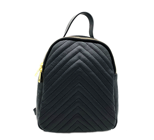 Front of black leather backpack