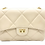Front of Beige classic leather shoulder bag