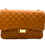 Front of classic camel leather shoulder bag