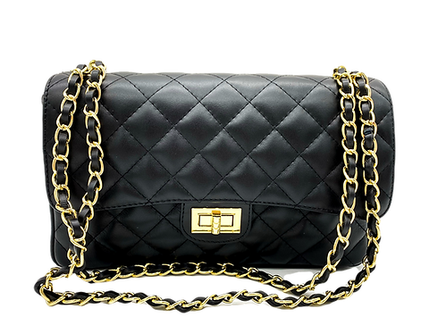 Front of classic leather bag in black color with straps