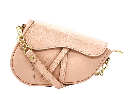 Pink Assymetric Bag front with strap