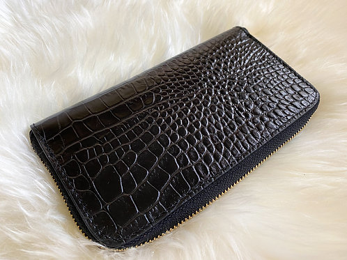 Black croco leather wallet