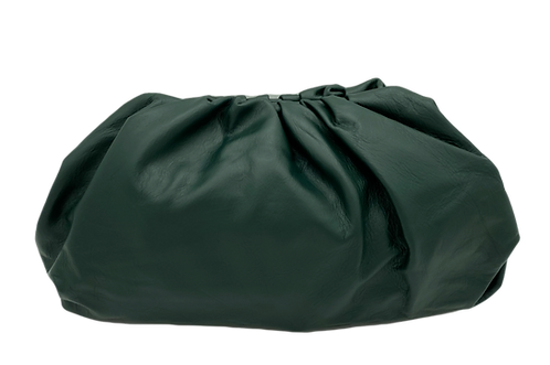 Bolsa clutch em couro macio verde escuro