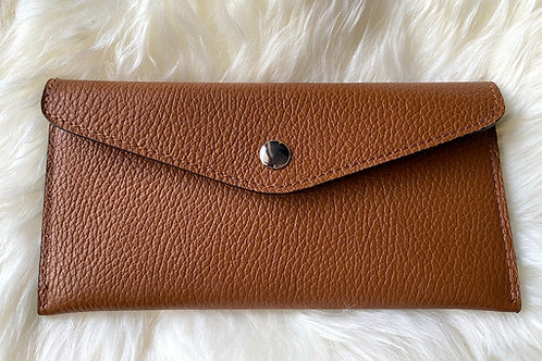 Camel Leather card Holder personalized with initials